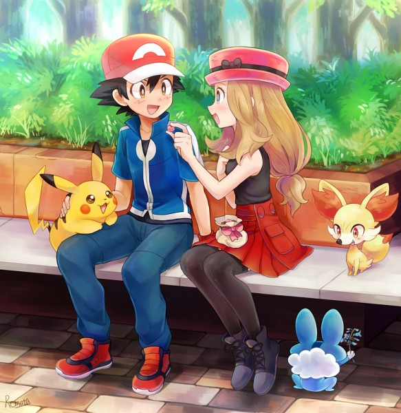 Sacha et Serena avec leurs pokémons